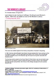 Click for Press Release, Cycling to Suffrage Exhibit Closing Sept 8