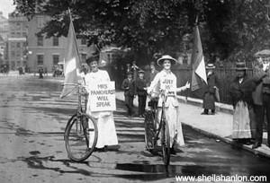 Suffragette Cyclists, sheilahanlon.com