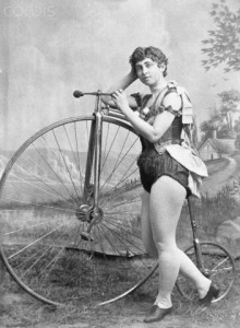 Lady Circus Bicyclist with Penny-Farthing Bicycle
